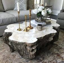 trunk shaped clam shell lava coffee table top with inlaid fossilized on diy birch tree log