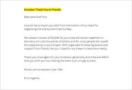 thank you letter to donors thank you letter for donation 8 free sample example format