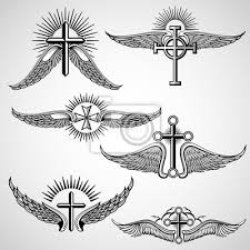 Obraz Vintage Kříž A Křídla Tetování Vektorové Prvky Vintage Tetování