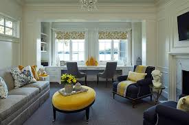 use of lovely vases decor and throw pillows can add yellow to the home office
