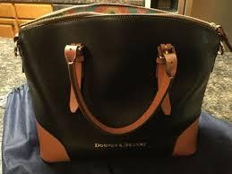 dooney bourke domed satchel 147406344 black leather with light leather trim