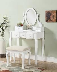 amazon roundhill furniture ashley wood make up vanity table and stool set white kitchen dining