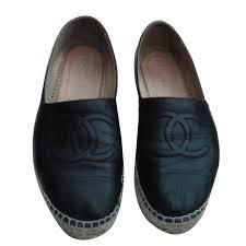 chanel espadrilles espadrilles leather black ref 88331