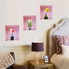 Small Picture 3d Romantic Vase Flower Wall Sticker Pvc Removable Wall Decals