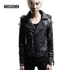 men leather jacket rivets punk rock stage costume street fashion slim fit overcoat locomotive jackets leather coats leather coat men fashion leather jacket