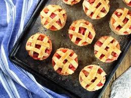 mini strawberry rhubarb pies in in