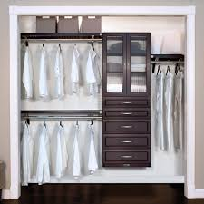 deep woodcrest premier closet organizer with 5 drawers and doors