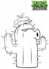 Plants Vs Zombies Cactus Coloring Page Free Printable Coloring Pages