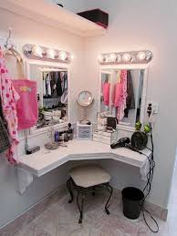 Built in corner vanity and dressing area in master closet. Don't love this  one but love the corner idea.