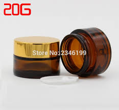20g 20ml dark brown glass jar with gold lid silver lid black cap amber color