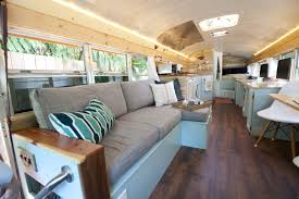 outside found bus conversion living room