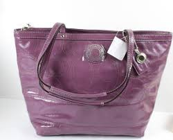 coach f19198 signature stitched berry purple patent leather tote handbag