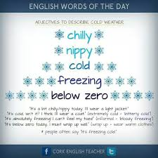 Adjectives To Describe Cold Weather English Words Grammar