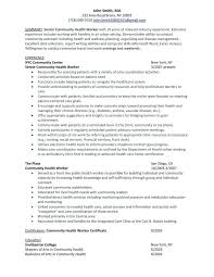 community health resume community health worker job description community health worker