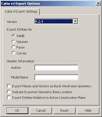 CATIA v4 Export Options Dialog