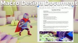 Game Design Document Template Game Jam Macro Design Document Guide And Template Indie Game Development