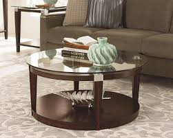 ... Coffee Table, Cool Brown Modern Wood Small Round Coffee Table With  Storage And Glass Top ...