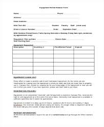 Equipment Checkout Form Template Excel Sample Release Forms In Doc Equipment Checkout Form Template