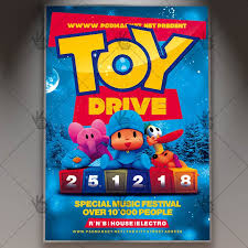 Food Drive Flyers Templates Christmas Toy Drive Flyer Psd Template