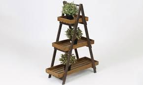 three tier wooden ladder plant stand