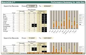 Workout Log Sheets Awesome MuscleCALC Workout Log And Analysis System By Running Deer Software