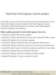 Top 8 Hotel Chief Engineer Resume Samples