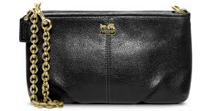 Lyst - Coach Madison Leather Large Wristlet with Chain in Black