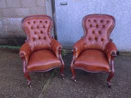 antique furniture warehouse pair antique leather armchairs mid