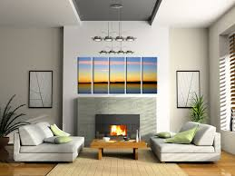 image of living room wall decor above couch