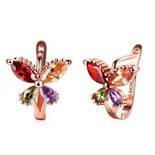 Beading Design Jewelry Com Ladies Colorful Beading Rose Gold Plated Earring Butterfly Pattern Jewelry