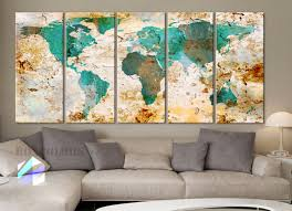 World Map Home Decor Xlarge 30x 70 5 Panels Art Canvas Print World Map