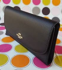COACH PEBBLED LEATHER TRIFOLD FLAP WALLET IN BLACK (No Checkbook Holder).