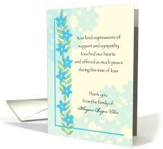 Thank You For Sympathy Card Sympathy Thank You Forget Me Not Blue Flowers Custom Text Card