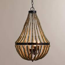 small wood brown bead chandelier