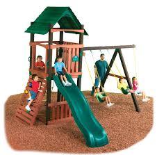 swing n slide cimarron swing set wood complete ready to