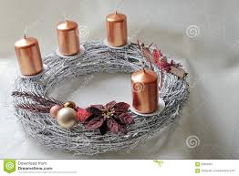 Advent Wreath Decorations Silver Wicker Work Advent Wreath With Bronze Coloured Candles And