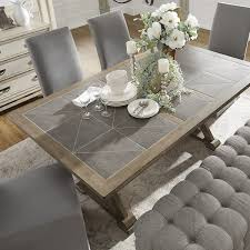 gray wood dining table. Pennington Grey Wood Rectangular Tile Top Trestle Dining Table By INSPIRE Q Artisan Gray G