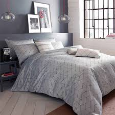 blueprint danuka grey and ivory geometric quilt cover set with