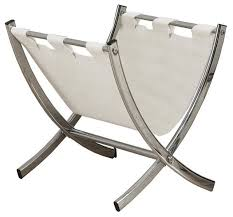White Leather Magazine Holder Simple LeatherLook Magazine Rack Chrome Metal Contemporary Magazine
