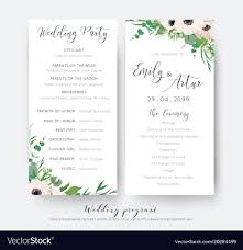 Wedding Ceremony Card Wedding Ceremony And Party Program Card Elegant Vector Image
