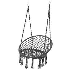 grey macrame hanging chair