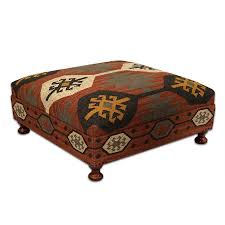 Large Wool Kilim Jute Coffee Table Ottoman Square,39'd x 16''h