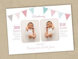 Print Baby Announcement Cards Photo Twins Birth Announcement Cards Buntings I Customize