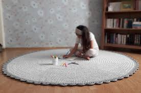 light grey crochet rug nursery rug kids room rug grey floor
