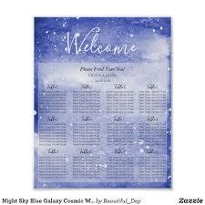 Night Sky Blue Galaxy Cosmic Wedding Seating Chart Zazzle