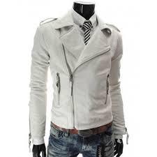 men s slim fit asymmetrical zipper white leather jacket