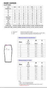 Chloe Skirt Size Chart Samantha Sung