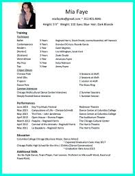 Dance Resume Examples Dance Resume Can Be Used For Both Novice And
