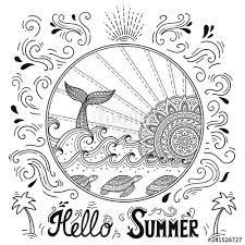 ocean landscape with waves mandala in form of sun fish tail lettering o summer coloring book page for children and s