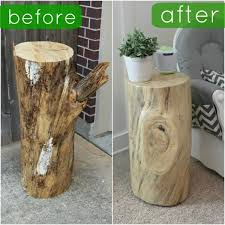 Before and after table made of rustic wooden log